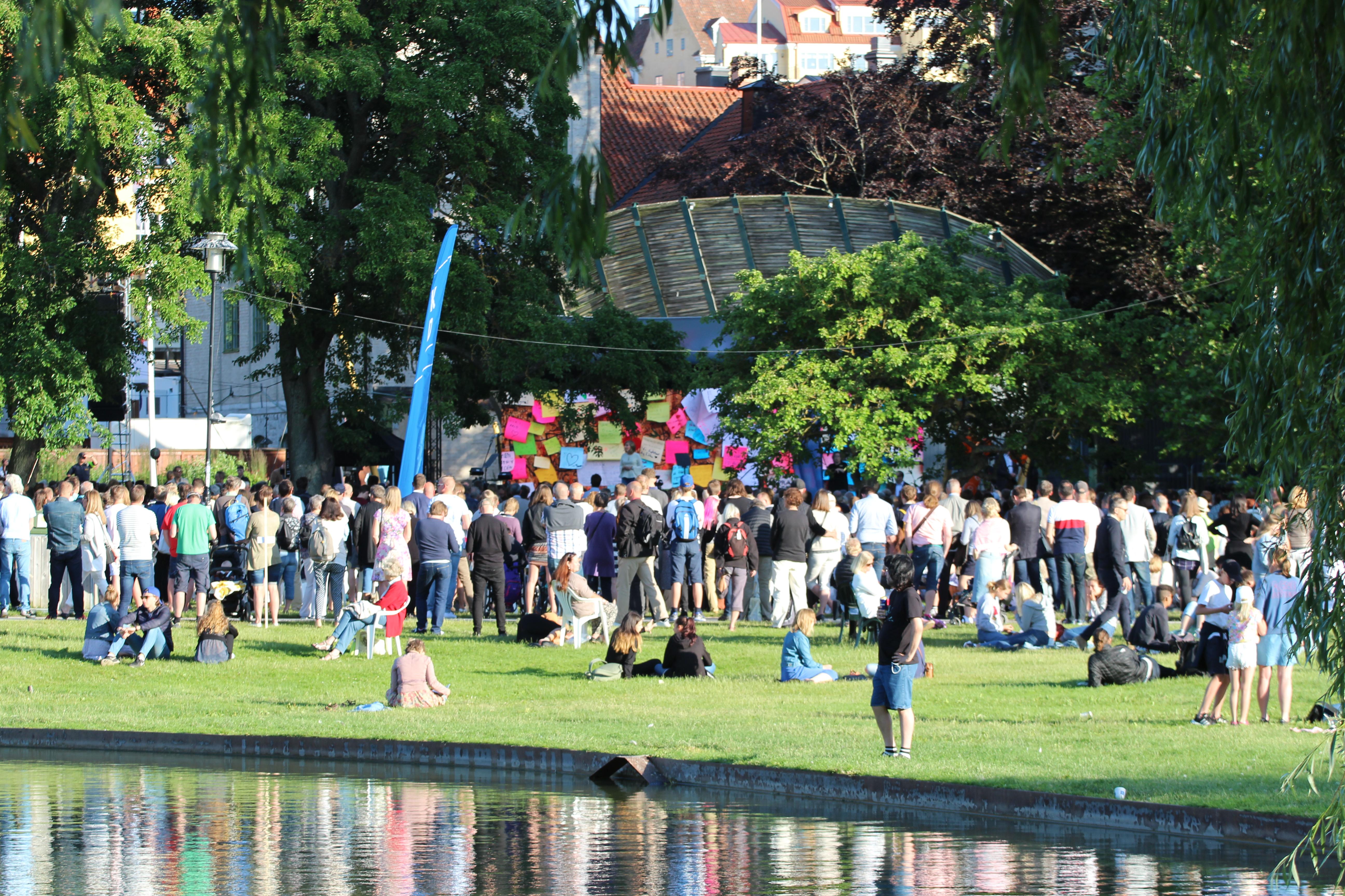 Massa människor på en gräsmatta, i bakgrunden syns en scen.