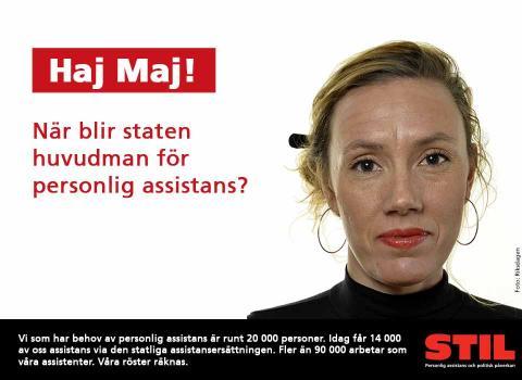 Maj Karlsson med texten Haj Maj! När blir staten huvudman för personlig assistans?
