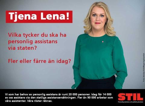 Bild på Lena Hallengren med texten Tjena Lena! Vilka tycker du ska ha personlig assistans via staten? Fler eller färre än idag?